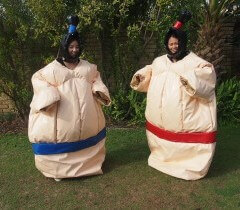 2 People Wearing Adult Inflatable Sumo Suits
