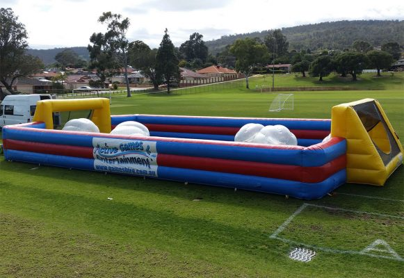 Side View of Inflatable Bubble Soccer Arena on Soccer Field