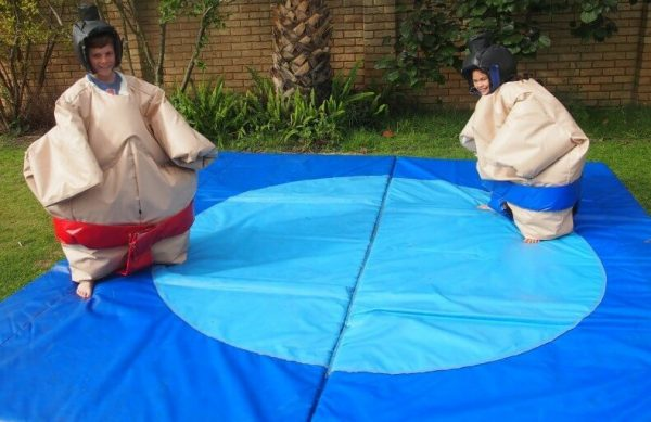 2 Children in Kids Inflatable Sumo Suits