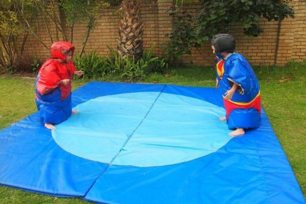 2 Children in Super Hero Inflatable Sumo Suits
