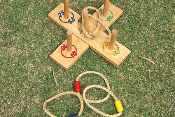 Garden Ring Toss Game on Grass