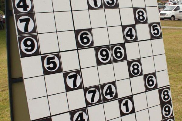 Giant Sudoku Board Setup on Grass Field