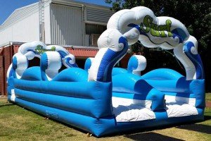 Front View of Fantastic Surf Inflatable Water Slide on Grass