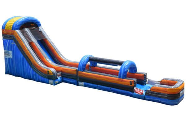 Side View of Blue and Orange Inflatable Single Lane Super Slide