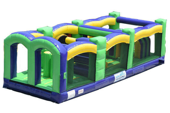 Green, Blue and Yellow Inflatable Obstacle Section of Radical Run Course